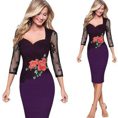 Sexy Lace Dress Women Embroidered Floral See Through Lace Party Evening Dress Special Occasion Embroidery Dress