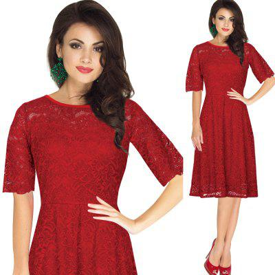 Gamiss Elegant Vintage Dress Women Delicate Lace Fabric Dress Wear To Work Party Evening Half Sleeve A-line Fold Formal Dress