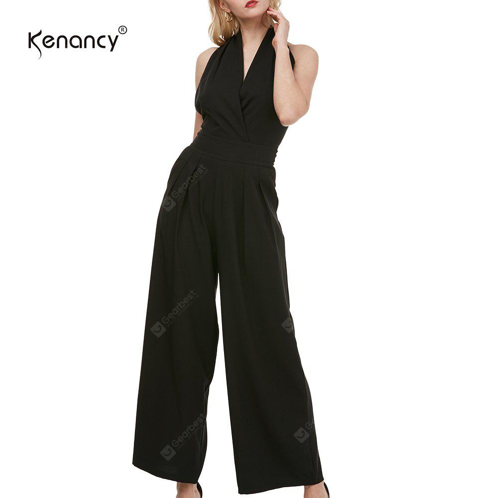 BLACK XL Kenancy Sexy Elegant Wide Leg Jumpsuit Female Fashion Sleeveless Backless Sexy V-neck Style Casual Work Party Wear Rompers