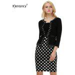Kenancy Female Work Dress Fashion Color Stiching Three Quarter Sleeve Pencil Dress With Belt - BLACK