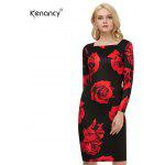 Buy Kenancy Vintage Flower Printing Dress Sexy Women Square Neck Casual Party Evening Special Occasion Pencil BLACK AND RED