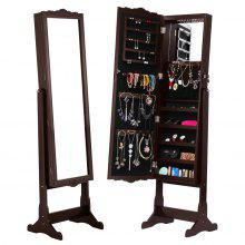 (JEWEL CAB 8292+LED Espresso) LANGRIA Free-Standing Lockable Carved Jewelry Armoire Cabinet with Full-Length Mirror and LED lights, 5 Shelves, Additional Mirror Inside, Organizer for Rings, Earrings,