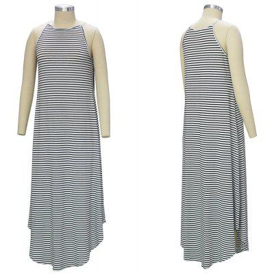 Buy GRAY 2016 new arrival womens casual dresses round neck sleeveless striped irregularred hem loose long dress for $13.52 in GearBest store