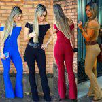 2016 new arrival summer style sexy jumpsuit woman boat collar waisted retro bell-bottomed jumpsuit - SIYAH