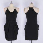 2016 new arrival summer style fashion thin waist design woman  leisure condole belt sleeveless dress with two pockets - BLACK