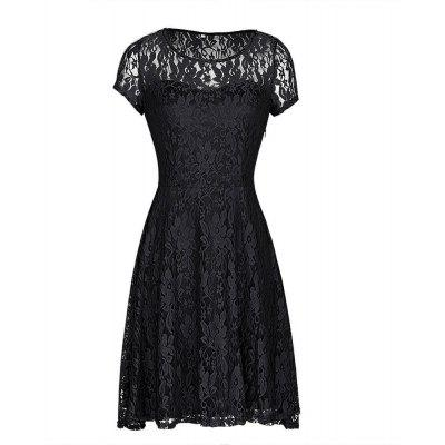 Buy Kenancy Womens Floral Lace Dress Round Neck Short Sleeve Evening Cocktail Party Casual Work Slim Mini Dress, BLACK, L, Apparel, Women's Clothing, Women's Dresses, Bodycon Dresses for $11.43 in GearBest store