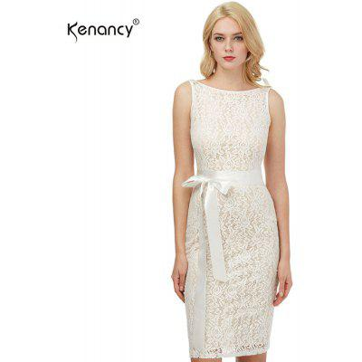 Buy CHAMPAGNE S Kenancy Womens Sexy Lace Sheath Bodycon Dress Boat Neck Sleeveless Champagne Wedding Cocktail Party Prom Bow Sashes Belted Pencil Midi Dress for $12.74 in GearBest store