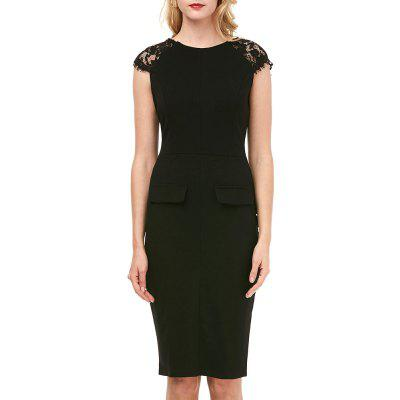 Buy BLACK L Kenancy Womens Elegant Lace Patchwork Sleeve Round Neck Cap Sleeve Work Office Work Cocktail Party Stretch Sheath Bodycon Dress for $19.14 in GearBest store