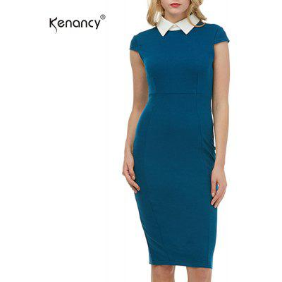 Kenancy Womens elegante camisa Turn-Down Collar Cap manga vaina Bodycon Slim Oficina vestido de trabajo Stretch Midi lápiz vestido