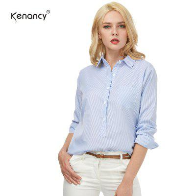Kenancy Womens Turn-Down Collar Lapel Vertical Striped Blouse Long Sleeve Button Pocket Casual Work Office Shirt