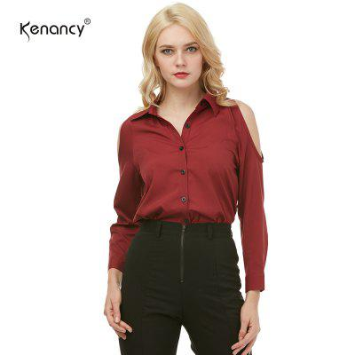 Kenancy Womens Turn-Down Collar Cold Shoulder Blouse  Long Sleeve Pure Color Casual Work Office Shirt