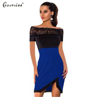 2016 new arrival summer style fashion lace stitching design woman a word shoulder sexy dress