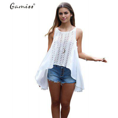 2016 new arrival summer style sexy lace design woman loose version sleeveless top