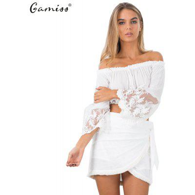 Woman tops 2016 Fashion Sexy Style Blouse Womens Off shoulder Elastic Lacing Straight Collar Ruffles And Long Lace-stitching Scalloped-edge Pagoda Sleeve Design Midriff Tops