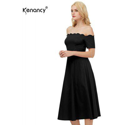 Kenancy Womens Elegant 1950s Style Off the Shoulder Vintage Dress Short Sleeve Cocktail Party  Fit and Flare Swing Midi Dress