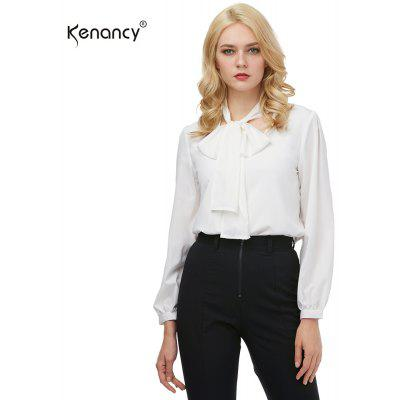 Kenancy Fashion Tie Blouse Shirt Female Sexy All-match V-neck Long Sleeve Casual Blouse