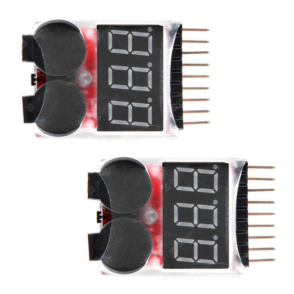 Virhuck 2pcs Remote Control Helicopter Multicopter Spare parts Lipo LiFe LiMn Li-ion Battery Monitor Alarm Low Voltage Buzzer Alarm Indicator 1S-8S