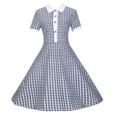 Zaful Woman Vintage Dress Spring And Summer Plaid printed Elegant Style V Neck Half-sleeve Design Retro Big Hemming Dress