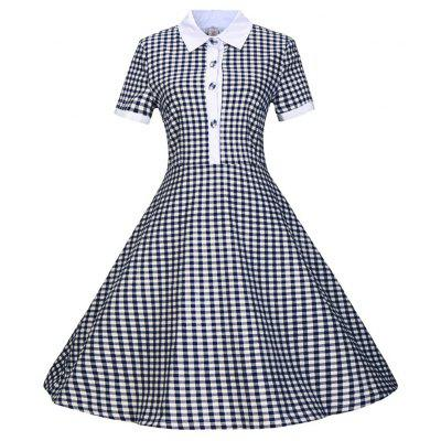 Zaful Woman Vintage Dress Spring and Summer Plaid impressa Estilo elegante V Neck Half-sleeve Design Retro Big Hemming Dress