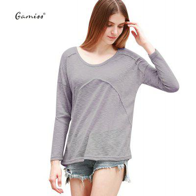 2016 casual fashion U-neck stitching long sleeve loose knitwear