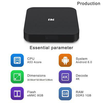thl Box 1 Android 6.0 S905X Quad-core CPU Penta Core GPU 1GB+8GB 4K WIFI Smart TV Box With LED