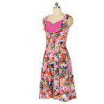 Zaful Woman Vintage Dress Primavera E Estate Stampa Floreale Elegante Style Sweetheart Neckline E Design Sleeveless Vintage Dress - ROSA