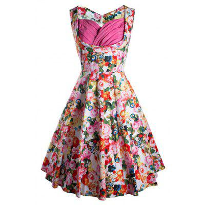 Zaful Woman Vintage Dress Spring And Summer Floral Printing Elegant Style Sweetheart Neckline And Sleeveless Design Vintage  Dress