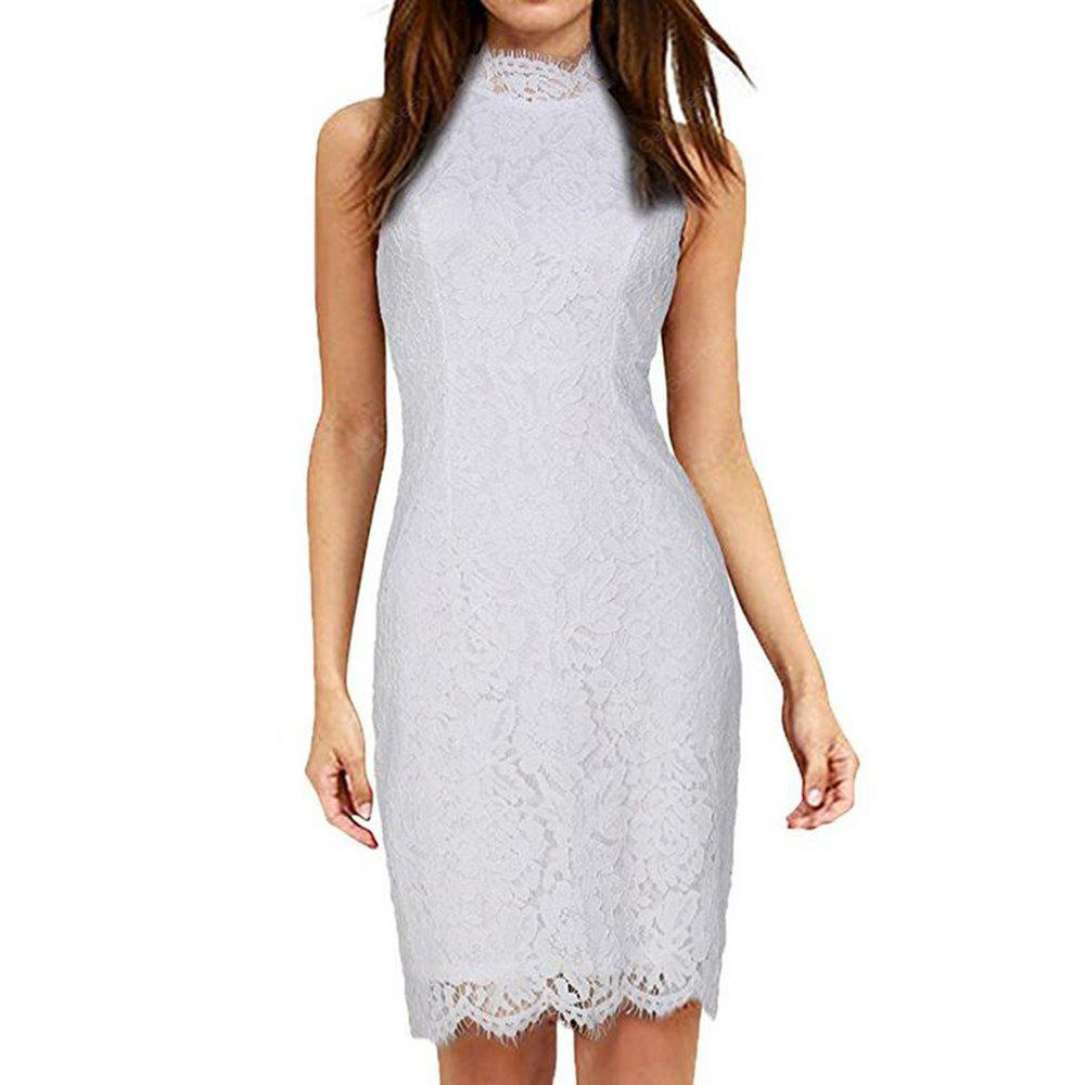 Buy Kenancy Womens Elegant Sleeveless Full Floral Eyelash Lace Cocktail Party Wedding Evening Special Occasions Halter Style Bodycon Dress 2XL WHITE