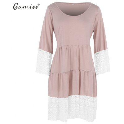 2015 autumn lace stitching loose 3/4 sleeve Dress