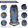 Free Knight 60L Internal Frame Trekking Camping Travel Rucksack Water Resistant Mountaineering Outdoor Backpack Hiking Bag - NAVY BLUE