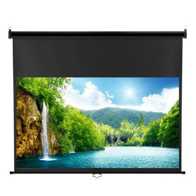 Excelvan 100-inch Diagonal 16:9 Ratio 1.2 Gain Manual Pull Down Projection Projector Screen Suitable For 1080P DTV/Sports/Movies/Presentations With Auto Locking Device - BLACK