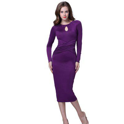Buy PURPLE S Kenancy Retro Pencil Dress Elegant Water Droplets Hollow Round Neck Long-Sleeved Fold Dress For Workwear for $13.05 in GearBest store