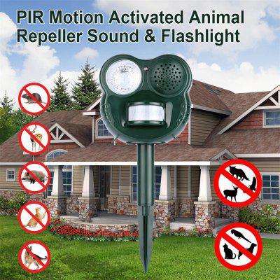 Buy PIR Motion Activated Animal Repeller Sound & Flashlight Pest Bird Repeller GH-503 GREEN for $21.45 in GearBest store