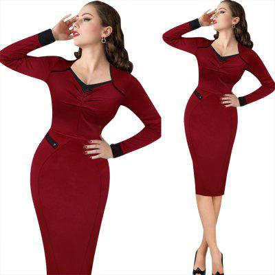 Vintage Dress Women Elegant Ruffles V-neck Long Sleeve Dress Casual Party Club Evening Bodycon Pencil Sheath Dress