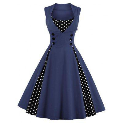 Buy DEEP BLUE Fashion vintage polka dot printing dress women retro style square collar sleeveless knee length dress defined waist elegant big swing dress for $19.80 in GearBest store