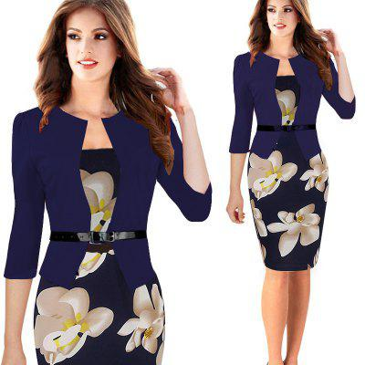 Kenancy Hot Patchwork Estiramiento Flower Pencil Dress Mujeres Elegantes Plus Size Bodycon Casual Work Dress Con Cinturón