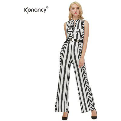 Kenancy Plus Size Long Jumpsuits Fashion Texture Printing Gold Belted Rompers Casual Work Wear With Belt