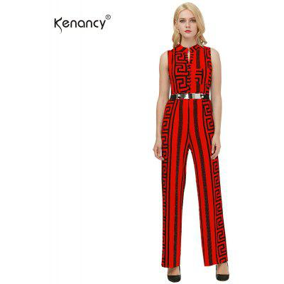 Kenancy Plus Size Long Jumpsuits Fashion Texture Printing Ouro Belted Rompers Casual Work Wear With Belt