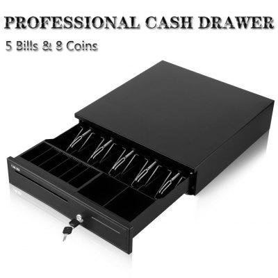 Heavy Duty Cash Drawer / POS Cash Box Tray with 5 Bills and 8 Coin Holders