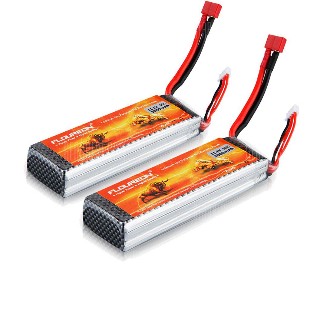 2Pcs / Set FLOUREON 11.1V 3000mAh 3S 30C (Deans Plug) Li-Polymer Battery