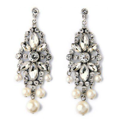 Pair of Graceful Faux Pearl Rhinestoned Hollow Out Earrings For Women