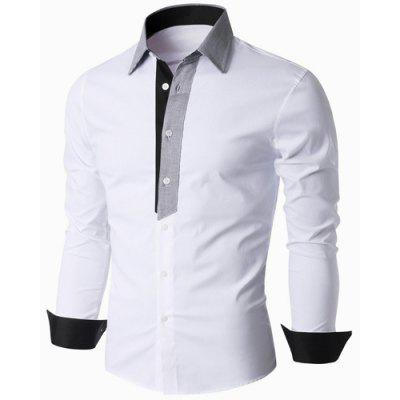Buy WHITE Turn-Down Collar Color Block Spliced Long Sleeve Shirt For Men for $12.21 in GearBest store