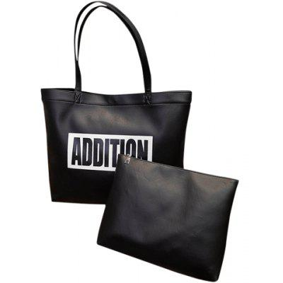 Fashion Word Print and Black Design Shoulder Bag For Women