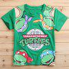 Buy Stylish Short Sleeve Round Neck Ninja Turtles Pattern Boy's T-Shirt 130 GREEN