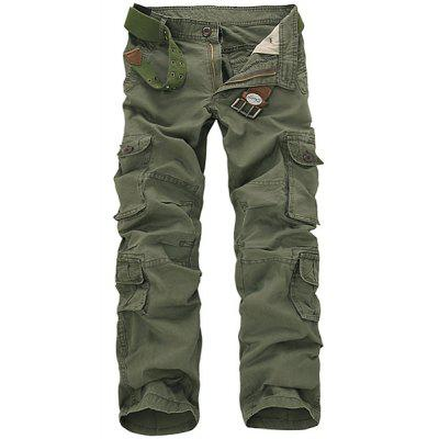 Casual Loose Fit Solid Color Multi-Pockets Zip Fly Cargo Pants For Men