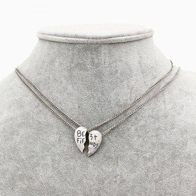 A Suit of Chic Solid Color Heart Shape Letter Carving Pendant Necklace For Women