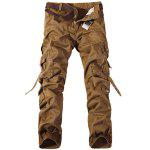 Casual Loose Fit Multi-Pockets Zip Fly Solid Color Cargo Pants For Men - EARTHY