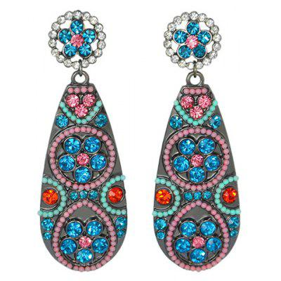 Pair of Fashionable Ethnic Style Rhinestone Water Drop Earrings For Women
