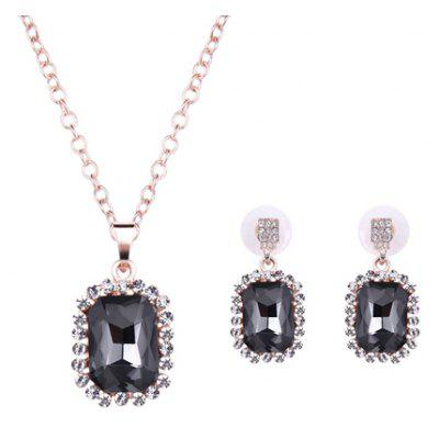 Charming Faux Crystal Rhinestone Rectangle Pendant Necklace and Earrings For Women