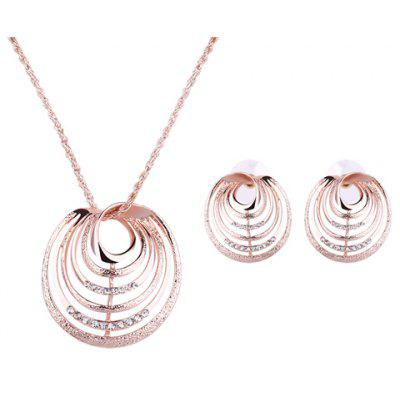 Charming Rhinestone Multilayered Round Pendant Necklace and Earrings For Women